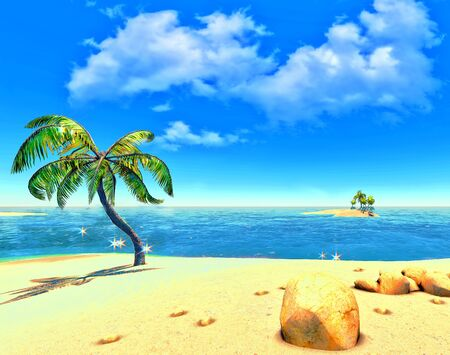 Beach, island and palms Stock Photo - 14324721