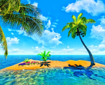 tropical island and palm Stock Photo - 14324750