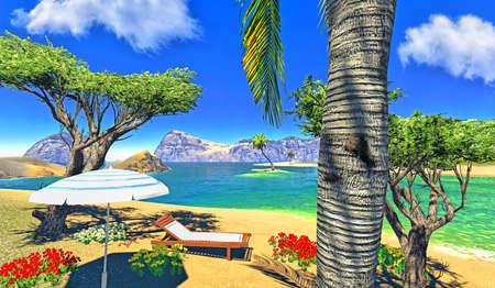 paradise lagoon with lounge and umbrella Stock Photo - 14324828