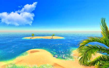 Beach, island and palms Stock Photo - 14324704
