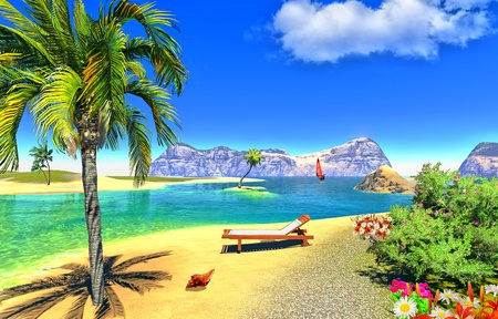 paradise lagoon with lounge Stock Photo - 14324821