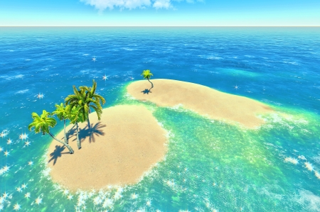 tropical islands and palms Stock Photo