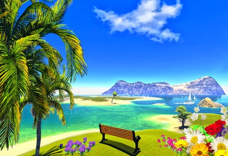 paradise lagoon and bench Stock Photo - 14324814