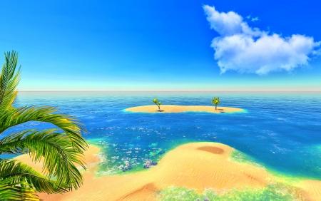 Beach, island and palms Stock Photo - 14324707