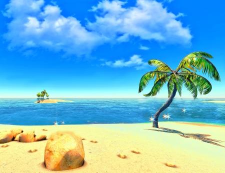 Beach, island and palms Stock Photo - 14324718