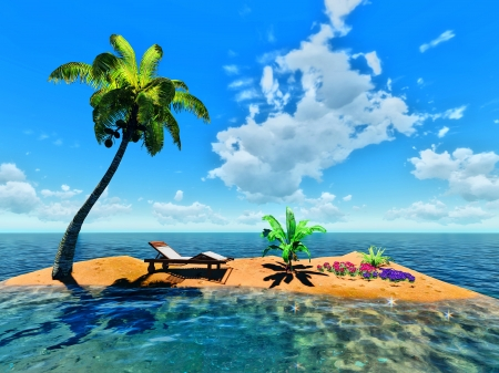 tropical island and palm Stock Photo