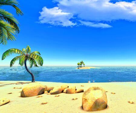 Beach, island and palms Stock Photo - 14324716