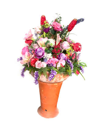 White, red and pink flowers in a vase isolated on a white background