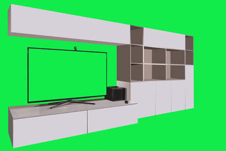 custom cabinet: living room furniture with TV and green screen in background