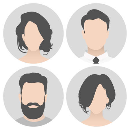 Colorful material vector people avatar (man and woman) in circle. People with a beautiful hairdress