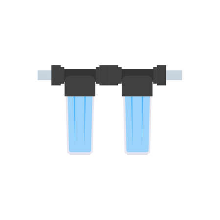 Detail for the scheme of water supply and purification of water from the well. Flat style. Two small empty glass bulb cartridge filter filter with water