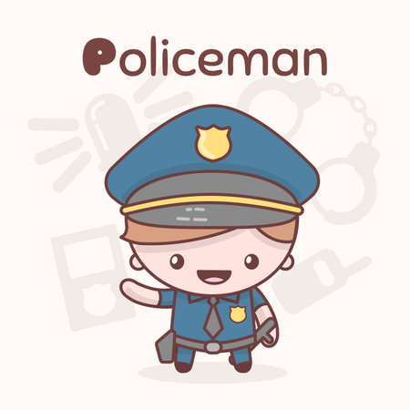 Cute chibi kawaii characters. Alphabet professions. Letter P - Policeman