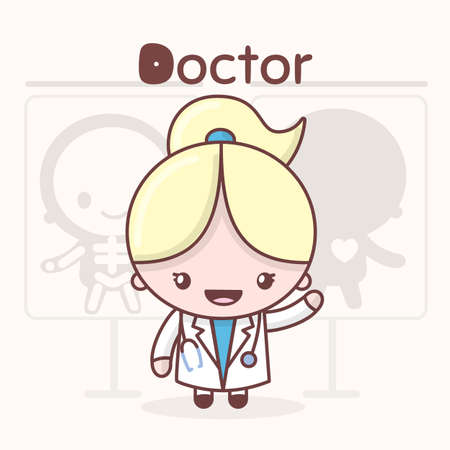 Cute chibi kawaii characters. Alphabet professions. Letter D - Doctor. Иллюстрация