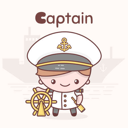 Cute chibi kawaii characters. Alphabet professions. Letter C - Captain. Flat style