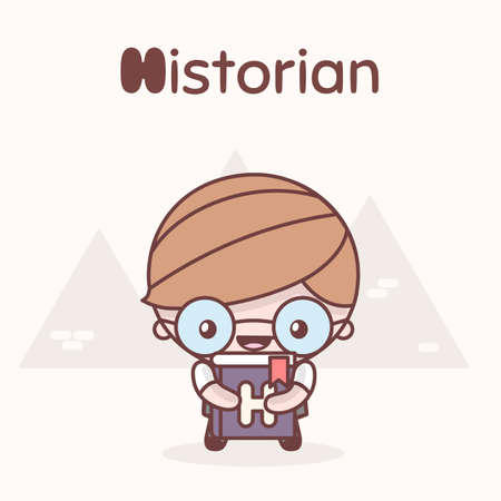 Cute chibi kawaii characters. Alphabet professions. Letter H - Historian. Flat style