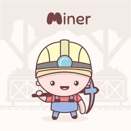 Cute chibi kawaii characters. Alphabet professions. Letter M - Miner. Flat style