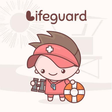 Cute chibi kawaii characters. Alphabet professions. Letter L - Lifeguard. Flat style