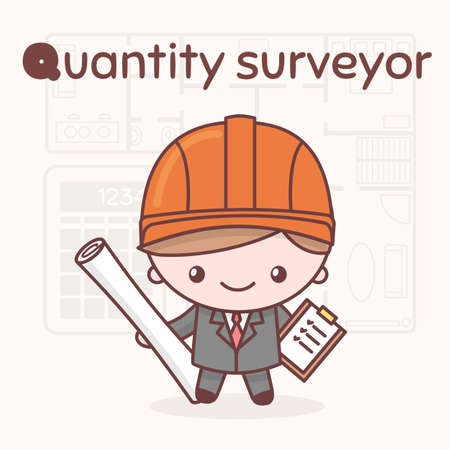 Cute chibi kawaii characters. Alphabet professions. Letter Q - Quantity surveyor. Flat style Illustration