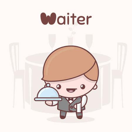 Cute chibi kawaii characters. Alphabet professions. Letter W - Waiter. Flat style Illustration