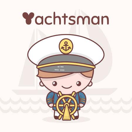 yachtsman: Cute chibi kawaii characters. Alphabet professions. Letter Y - Yachtsman