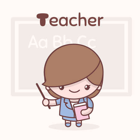 Cute chibi kawaii characters. Alphabet professions. Letter T - Teacher Illustration