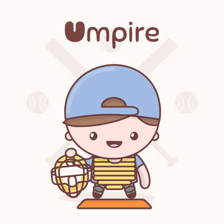 umpire: Cute chibi kawaii characters. Alphabet professions. Letter U - Umpire. Flat style
