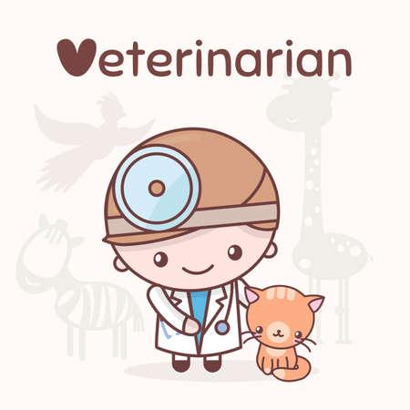 stethoscope boy: Cute chibi kawaii characters. Alphabet professions. Letter V - Veterinarian. Flat style Illustration