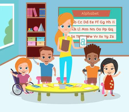장애아 특별 클래스. 장애가있는 어린이와 교사는 인사하고 손을 흔들며. 알파벳 학습