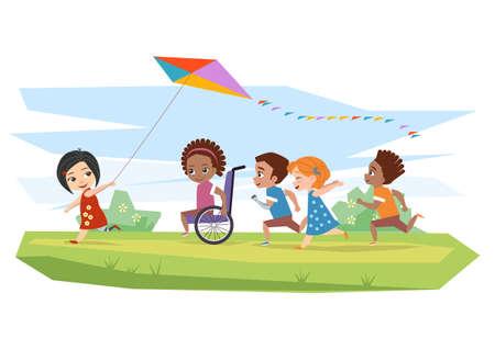 enfants et enfants d & # 39 ; âge mûr joyful courir et courir cerf-volant sur l & # 39 ; herbe