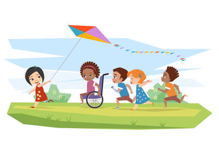 Joyful disabled children and healthy run and run kite outdoors on the grass