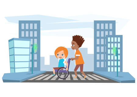 The boy drives the girl in a wheelchair, helps cross the road. Ilustração