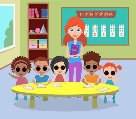 안경을 쓰고있는 특별한 시각 장애아들. 맹인 자녀는 장애인이며 교사는 인사와 흔들기를합니다. 점자 알파벳 배우기