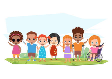 Children of different disabilities and healthy children posing,