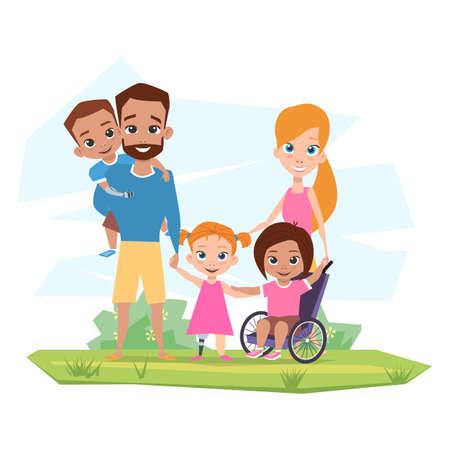 La familia feliz con los niños con discapacidades abraza en la ilustración de la naturaleza. Ilustración de vector