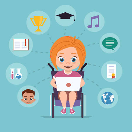 A girl in a wheelchair is studying via the Internet