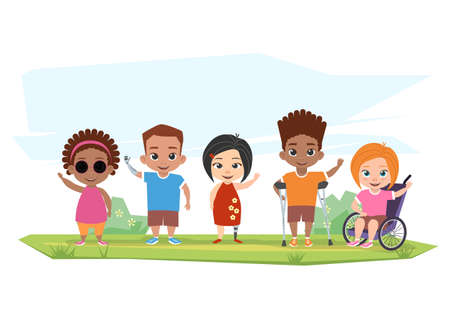 Children of different disabilities pose, greet and wave their hands illustration. Stock Illustratie