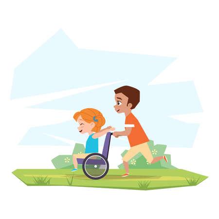 Los niños felices juegan en la naturaleza. Un niño está montando una chica discapacitada en una silla de ruedas en el campo