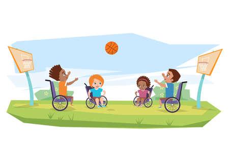 Dzieci z niepełnosprawnościami gry w koszykówkę na świeżym powietrzu na trawie.