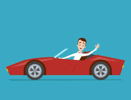 De zakenman in een wit overhemd drijft een rode sportwagen op een blauwe achtergrond Stock Illustratie