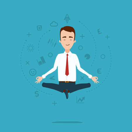 meditates: A businessman meditates in a lotus pose. A cloud of thoughts and ideas