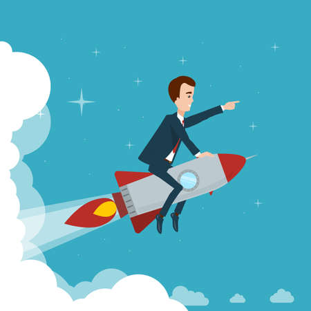 Businessman is flying on a rocket through the clouds against the background of the star sky Illustration