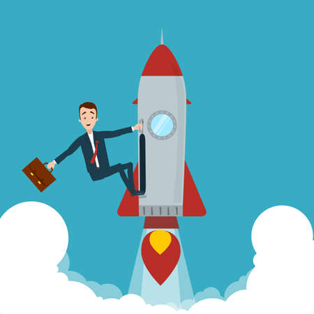 The businessman seized the rocket and flew up. One hand holds on to the rocket, in the other hand the briefcase Illustration