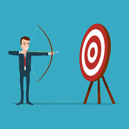 The businessman stands and aims from the bow to the target. Round goal with red circles on three legs