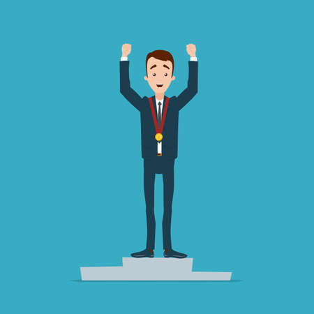 A businessman with a medal on his neck stands on the podium. Hands raised up Illustration