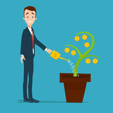 A businessman is standing and watering a money tree from a golden watering can. Plant with gold coins Illustration