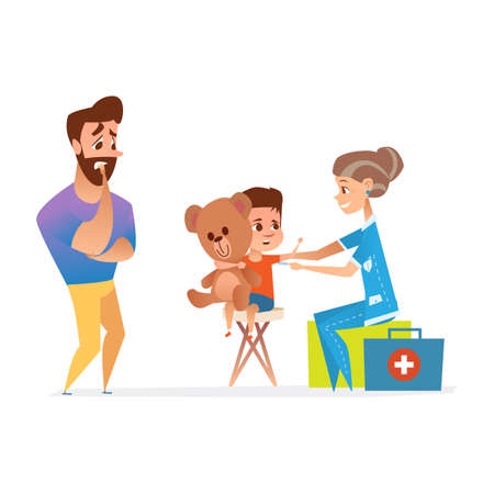 baby sick: Doctors visit vector illustration