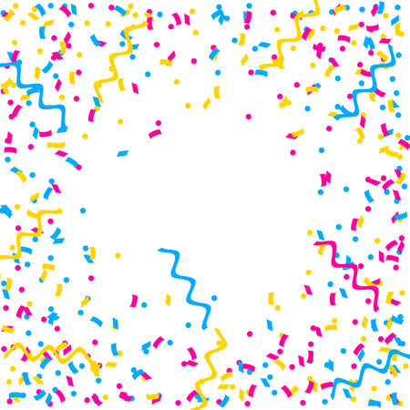 Abstract multicolored background. A lot of small falling confetti. Confetti fly from all sides to the center. Confetti frame