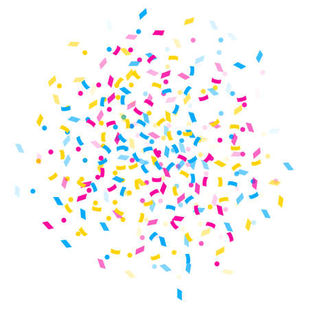 Abstract multicolored background. A lot of small falling confetti. Explosion of confetti from the center