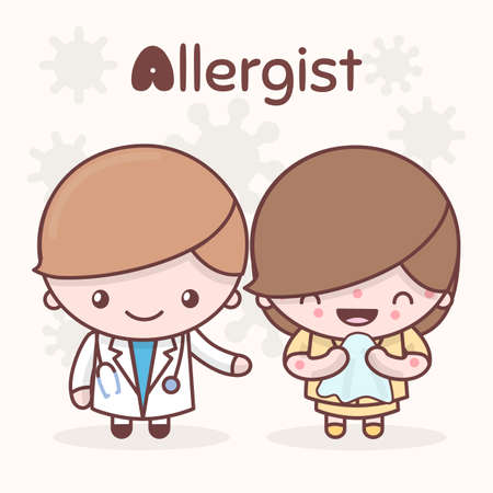 Cute chibi kawaii characters. Alphabet professions. The Letter A - Allergist. Flat cartoon style