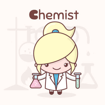 Cute chibi kawaii characters. Alphabet professions. The Letter C - Chemist. Flat cartoon style Illustration
